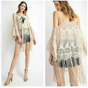 Lace Boho Tunic with Fringe & Feather Detail